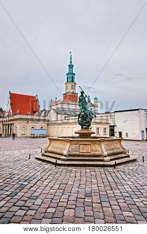 Neptune Fountain On Old Market Square Poznan