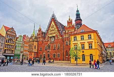 People At Old Town Hall At Salt Square Wroclaw