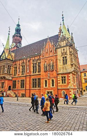 People At Old Town Hall Of Market Square Of Wroclaw
