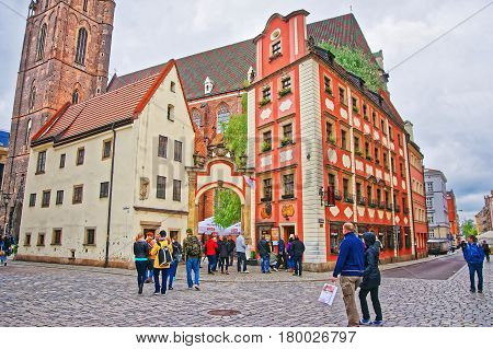 People At St Elizabeth Church In Market Square In Wroclaw