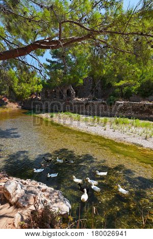 Old town Olympos in Turkey - travel background