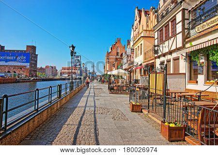 Promenade At Motlawa River Of Gdansk