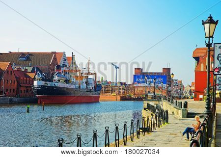 Ship At Waterfront Of Motlawa River In Gdansk