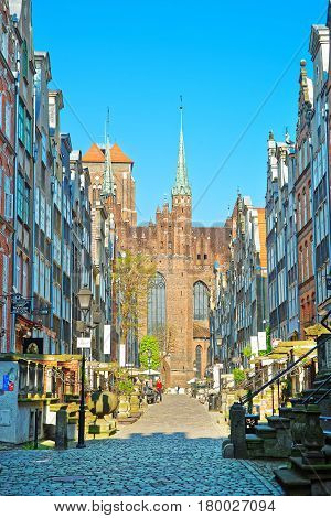 Street And Fragment Of Saint Mary Basilica In Gdansk