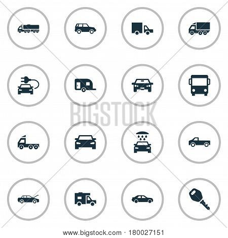 Vector Illustration Set Of Simple Automobile Icons. Elements Vehicle, Key, Traffic And Other Synonyms Public, Shipment And Carriage.