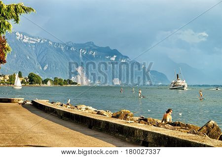 Excursion Ferry And Peope At Geneva Lake In Vevey Switzerland