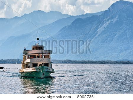 Excursion Ship With People At Geneva Lake At Montreux