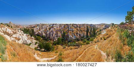 Uchisar cave city in Cappadocia Turkey - nature background