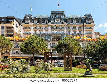 Garden And Luxury Hotel At Geneva Lake Riviera Of Montreux