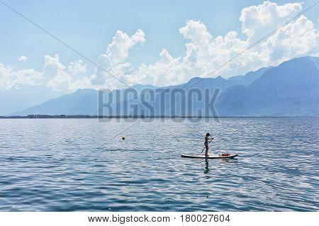Girl Standing Standup Paddle Surfing Geneva Lake Montreux