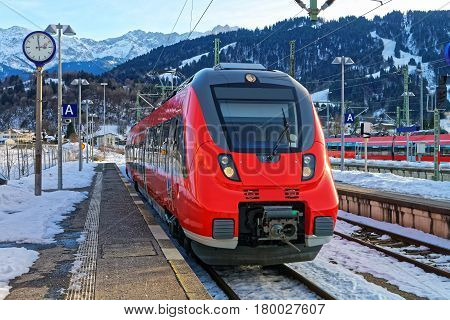 High Speed Train At Garmisch Partenkirchen