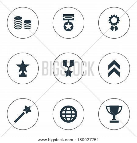 Vector Illustration Set Of Simple Trophy Icons. Elements Trophy, World, Prize And Other Synonyms Conquering, Graphic And Victory.