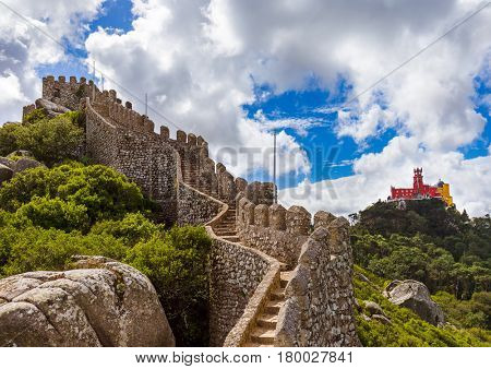 Moorish castle and Pena palace in Sintra - Portugal - architecture background