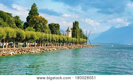 Promenade With Alps Mountains And Geneva Lake Riviera In Vevey