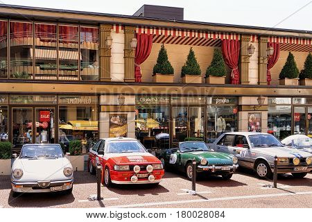 Retro Cars Parked At Casino Building At Geneva Lake Montreux