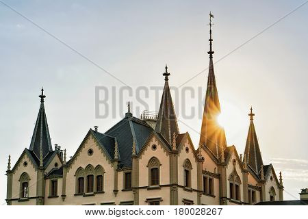 Building With Spires In Vevey Switzerland