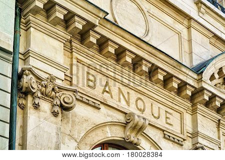 Decor of a bank building in Montreux city center Vaud canton Switzerland