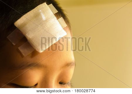 Wound on head of child.Close up and concept for health