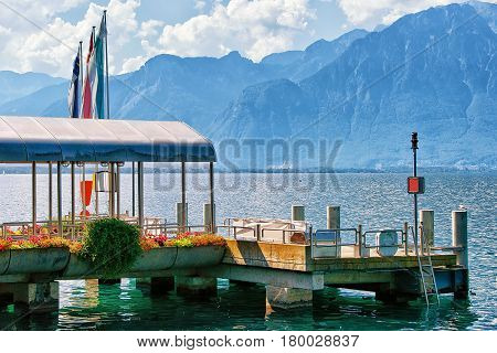 Landing Stage In Geneva Lake In Montreux