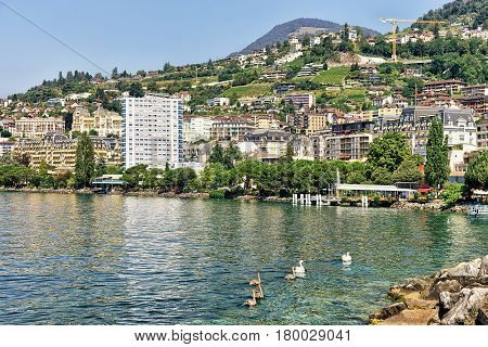 Panorama Of Montreux Riviera On Geneva Lake