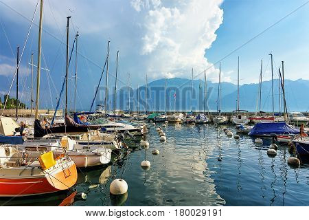 Sailboats At Marina On Geneva Lake In Vevey