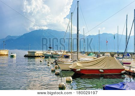 Sailboats In Marina On Geneva Lake In Vevey