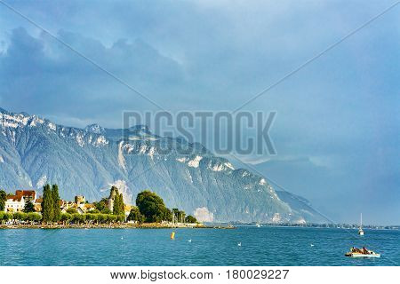 Scenery With Alps Mountains And Geneva Lake Riviera At Vevey