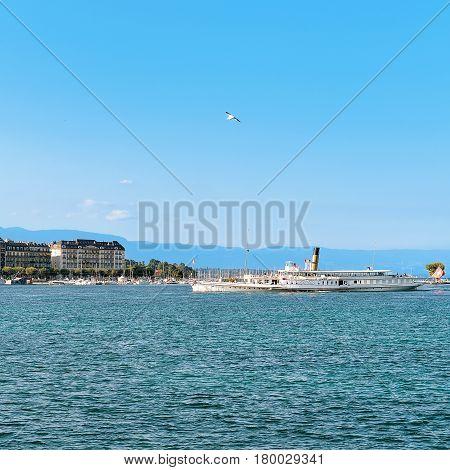 Steam Ship On Geneva Lake Near Embankment Promenade Du Lac