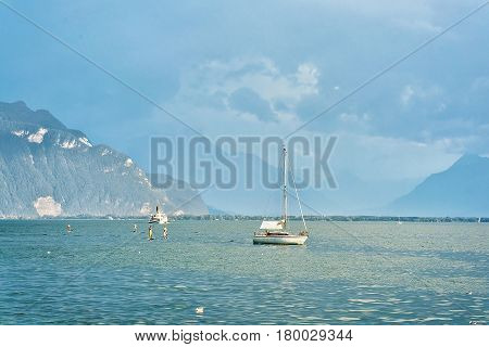 Ship And People At Geneva Lake Of Vevey Switzerland