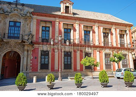 Archbishop Palace in Seville of Andalusia Spain.