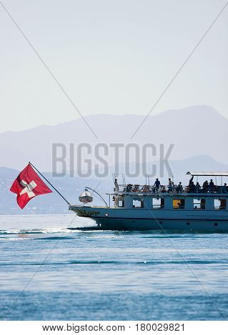 Ferry Cruise At Lake Geneva In Lausanne