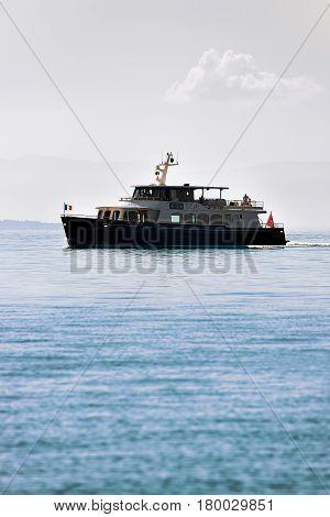 Ferry On Lake Geneva In Lausanne