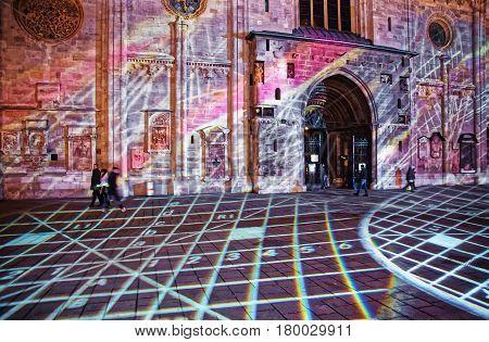 Laser Show At St Stephen Cathedral At Stephansplatz In Vienna