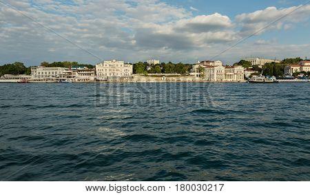 Sevastopol, Russia - June 09, 2016: Primorsky Boulevard in the Severnaya Bay of Sevastopol