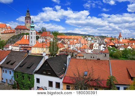 Roof View Of State Castle In Cesky Krumlov Czech Republic
