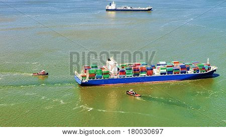 Aerial view of Bayonne Container Ship NJ USA