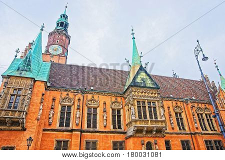 Clock Tower Of Old Town Hall Market Square Wroclaw
