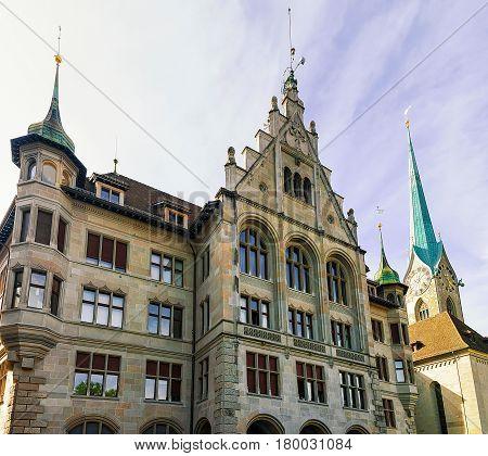 City Hall Stadthaus And Fraumunster Church In Zurich