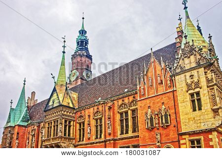 Clock Tower Of Old Town Hall At Market Square Wroclaw