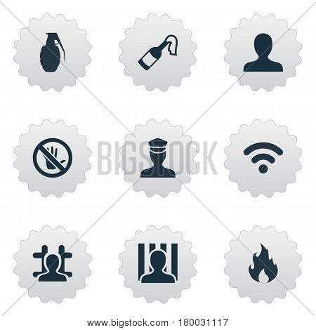 Vector Illustration Set Of Simple Offense Icons. Elements Bottle, Sheriff, Blaze And Other Synonyms Justice, Grenade And Prohibited.