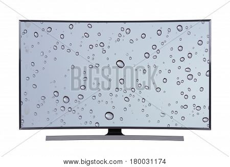 Led Tv With Water Drop Screen Isolated On White Background