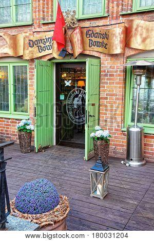 Gdansk Poland - May 8 2014: Entrance into pub in Gdansk Poland