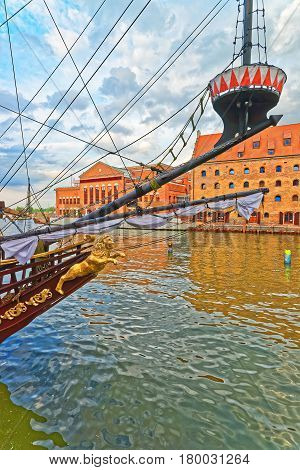 Fragment Of Ship At Waterfront Of Motlawa River In Gdansk