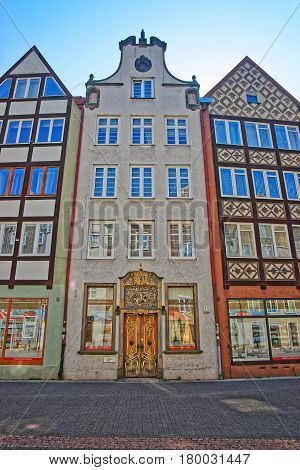 Gdansk Poland - May 8 2014: Historical buildings in the old town center of Gdansk Poland