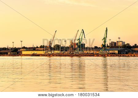 Loading Cranes In Port At Baltic Sea In Klaipeda