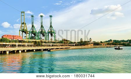Passenger Express Train And Loading Cranes Sentosa Island Singapore