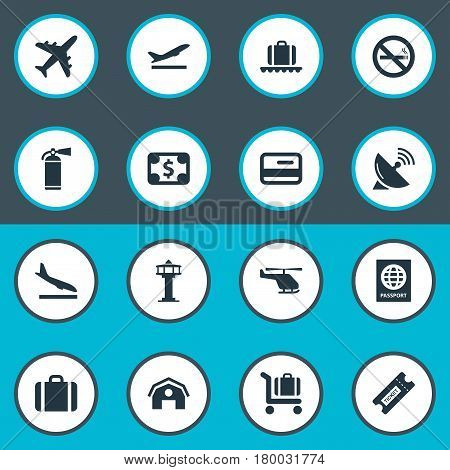 Vector Illustration Set Of Simple Plane Icons. Elements Baggage Cart, Antenna, Takeoff And Other Synonyms Copter, Certificate And Protection.