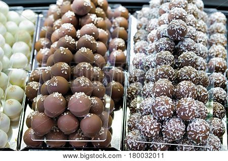 Selection Of Milk And Coconut Swiss Chocolate Truffle