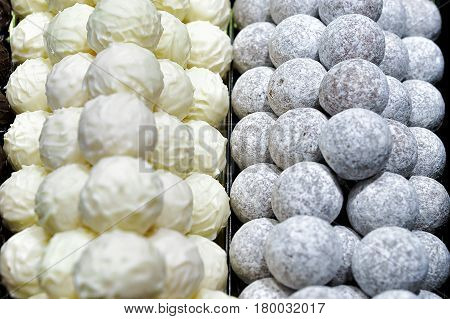 Selection of different white Swiss chocolate truffles