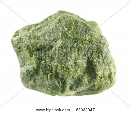 Epidote isolated on white background. Calcium aluminium iron sorosilicate green mineral